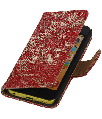 Hoesje voor Apple iPhone 5C Lace Kant Bookstyle Wallet Rood