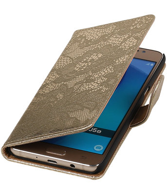 Goud Lace booktype cover hoesje voor Samsung Galaxy J5 2016