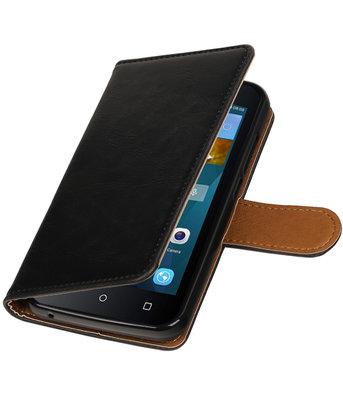 Zwart Pull-Up PU booktype wallet voor Hoesje voor Huawei Y560 / Y5