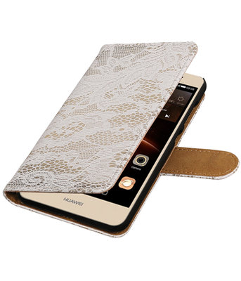 Wit Lace booktype wallet cover voor Hoesje voor Huawei Y6 II Compact