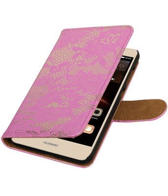Roze Lace booktype wallet cover hoesje voor Huawei Y6 II Compact
