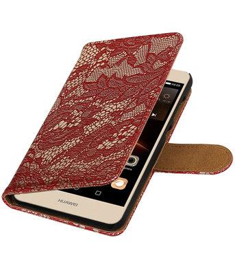 Rood Lace booktype wallet cover voor Hoesje voor Huawei Y6 II Compact