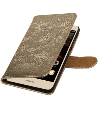 Goud Lace booktype wallet cover hoesje voor Huawei Y6 II Compact