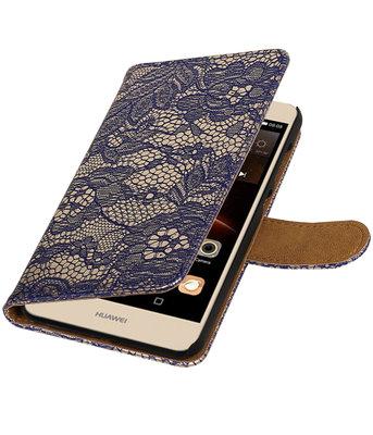 Blauw Lace booktype wallet cover voor Hoesje voor Huawei Y6 II Compact