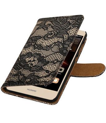 Zwart Lace booktype wallet cover voor Hoesje voor Huawei Y6 II Compact