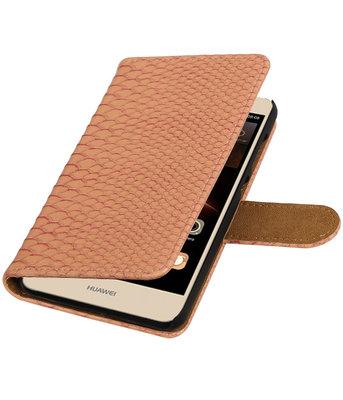 Roze Slang booktype wallet cover voor Hoesje voor Huawei Y6 II Compact