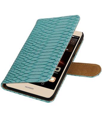 Turquoise Slang booktype wallet cover voor Hoesje voor Huawei Y6 II Compact