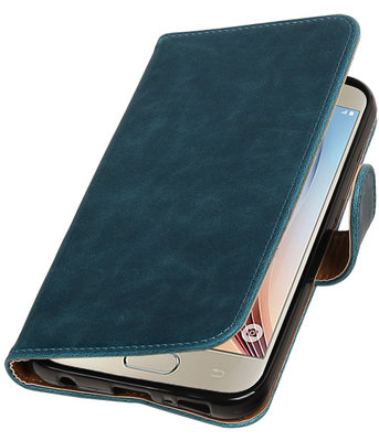 Blauw Pull-Up PU booktype wallet cover hoesje voor Samsung Galaxy S7 Plus