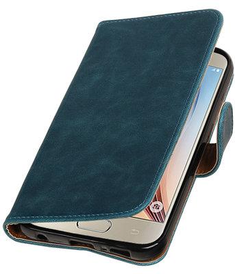 Blauw Pull-Up PU booktype wallet cover voor Hoesje voor Samsung Galaxy S7 Plus