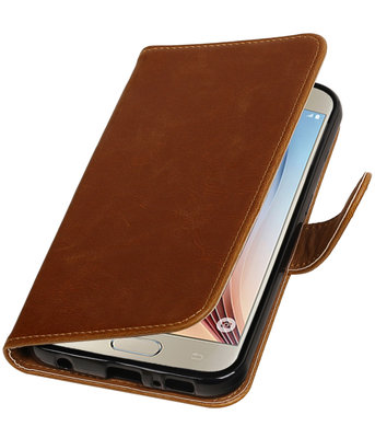Bruin Pull-Up PU booktype wallet cover hoesje voor Samsung Galaxy S7 Plus