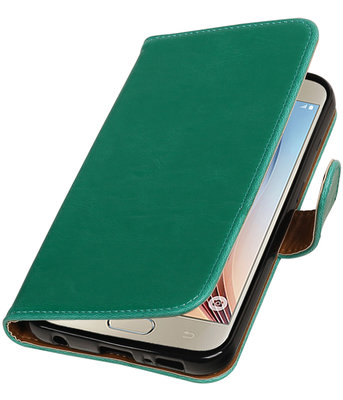 Groen Pull-Up PU booktype wallet cover voor Hoesje voor Samsung Galaxy S7 Plus