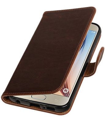 Mocca Pull-Up PU booktype wallet cover voor Hoesje voor Samsung Galaxy S7 Plus