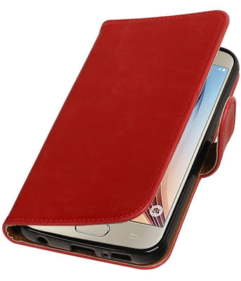 Rood Pull-Up PU booktype wallet cover voor Hoesje voor Samsung Galaxy S7 Plus