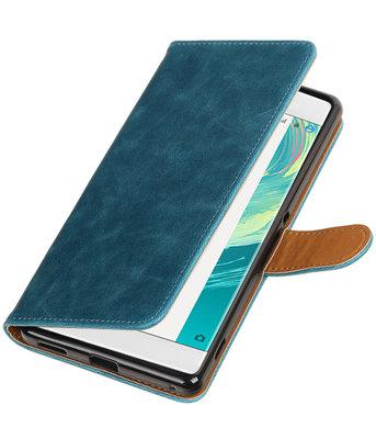 Blauw Pull-Up PU booktype wallet voor Hoesje voor Sony Xperia C6