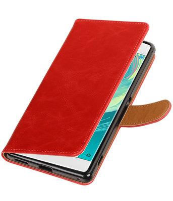 Rood Pull-Up PU booktype wallet voor Hoesje voor Sony Xperia C6