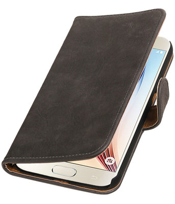 Grijs Bark Hout Booktype Hoesje voor Samsung Galaxy S7 Plus Wallet Cover