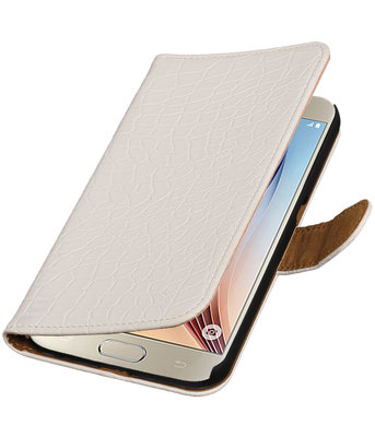 Wit Krokodil Booktype Hoesje voor Samsung Galaxy S7 Plus Wallet Cover