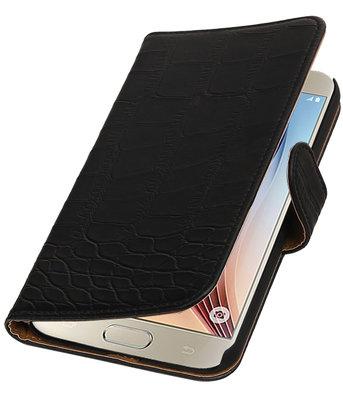 Zwart Krokodil Booktype Hoesje voor Samsung Galaxy S7 Plus Wallet Cover
