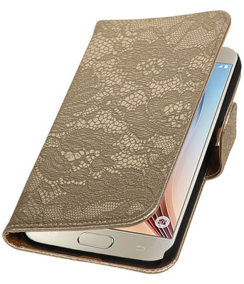 Goud Lace Booktype Hoesje voor Samsung Galaxy S7 Plus Wallet Cover