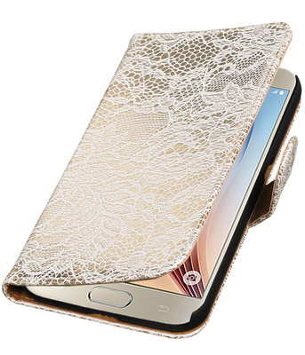 Wit Lace Booktype Hoesje voor Samsung Galaxy S7 Plus Wallet Cover