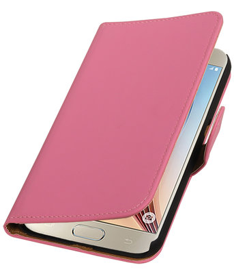 Roze Effen Booktype Hoesje voor Samsung Galaxy S7 Plus Wallet Cover