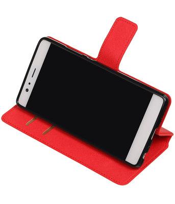 Rood Hoesje voor Huawei P9  TPU wallet case booktype HM Book