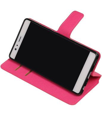 Roze Hoesje voor Huawei P9 TPU wallet case booktype HM Book