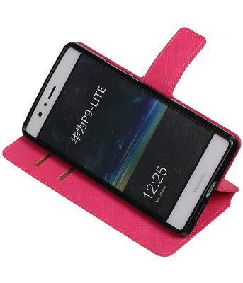 Roze Hoesje voor Huawei P9 Lite TPU wallet case booktype HM Book