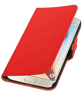 Rood Effen Booktype Hoesje voor Samsung Galaxy S7 Plus Wallet Cover