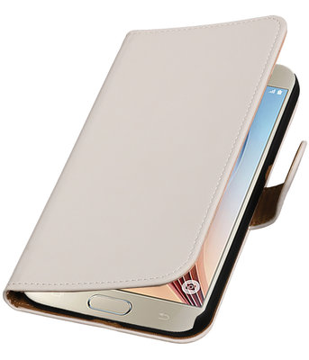 Wit Effen Booktype Hoesje voor Samsung Galaxy S7 Plus Wallet Cover