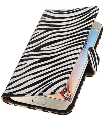 Zebra Booktype Hoesje voor Samsung Galaxy S7 Plus Wallet Cover