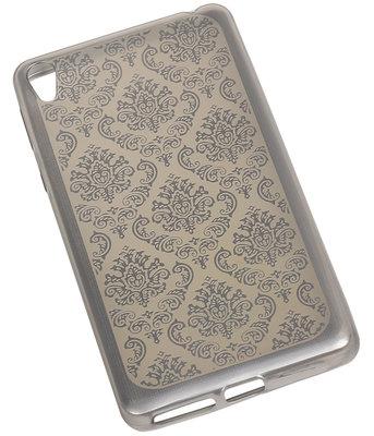 Zilver Brocant TPU back cover voor Hoesje voor Sony Xperia E5