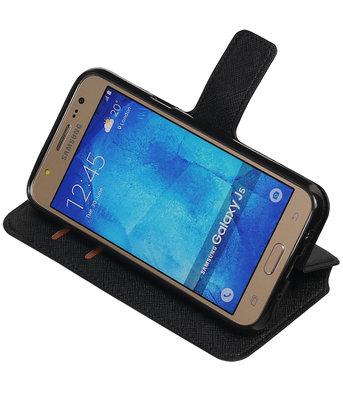 Zwart Hoesje voor Samsung Galaxy J5 2015 TPU wallet case booktype HM Book