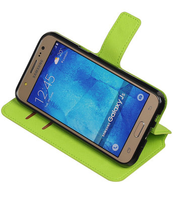 Groen Hoesje voor Samsung Galaxy J5 2015 TPU wallet case booktype HM Book