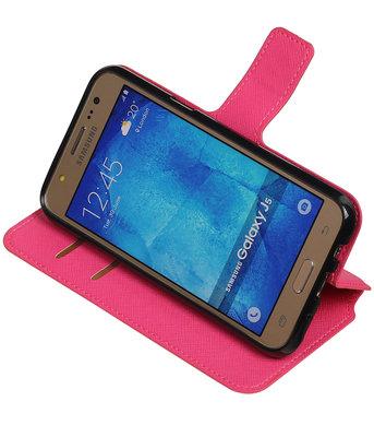 Roze Hoesje voor Samsung Galaxy J5 2015 TPU wallet case booktype HM Book