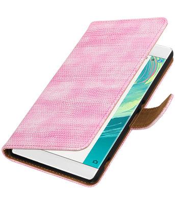Roze Mini Slang booktype wallet cover voor Hoesje voor Sony Xperia C6