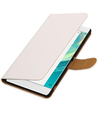 Wit Effen booktype wallet cover voor Hoesje voor Sony Xperia C6