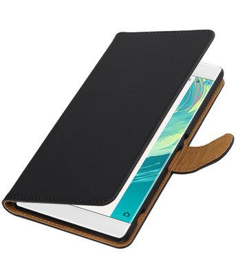 Zwart Effen booktype wallet cover voor Hoesje voor Sony Xperia C6