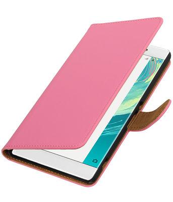Roze Effen booktype wallet cover voor Hoesje voor Sony Xperia C6