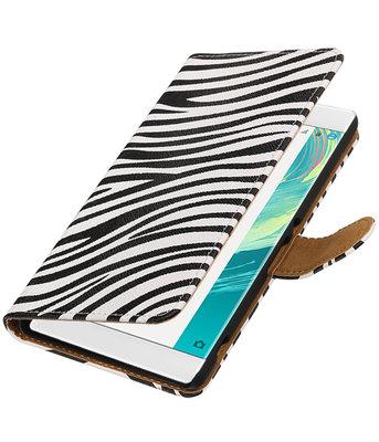 Zebra booktype wallet cover voor Hoesje voor Sony Xperia C6
