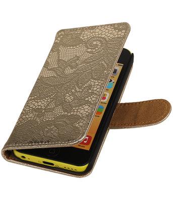 Hoesje voor Apple iPhone 5c - Goud Lace Kant Design