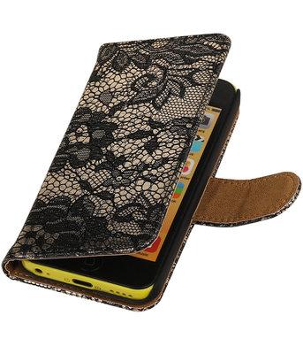 Hoesje voor Apple iPhone 5c - Zwart Lace Kant Design