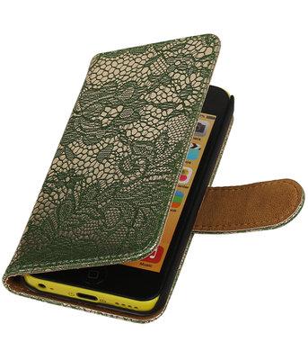 Hoesje voor Apple iPhone 5c - Donker Groen Lace Kant Design