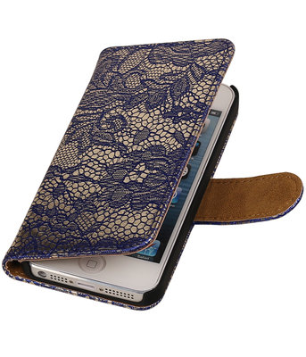 Lace Blauw iPhone 5 5s Book/Wallet Case/Cover Hoesje