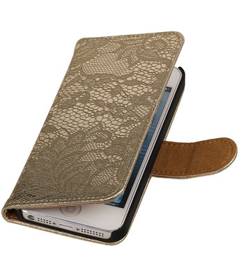 Lace Goud iPhone 5 5s Book/Wallet Case/Cover Hoesje