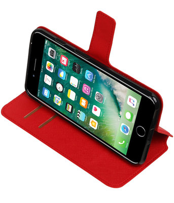 Rood Hoesje voor Apple iPhone 7 Plus / 8 Plus TPU wallet case booktype HM Book