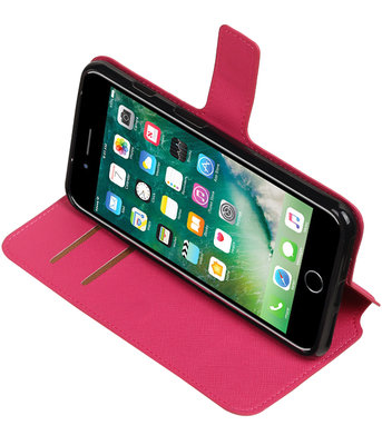 Roze Hoesje voor Apple iPhone 7 Plus / 8 Plus TPU wallet case booktype HM Book