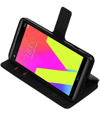 Zwart Hoesje voor LG V20 TPU wallet case booktype HM Book