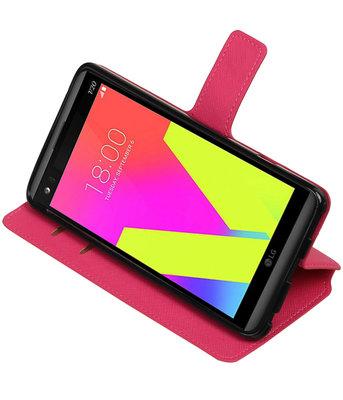 Roze Hoesje voor LG V20 TPU wallet case booktype HM Book