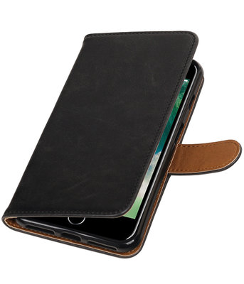 Zwart Pull-Up PU booktype wallet voor Hoesje voor Apple iPhone 7 Plus / 8 Plus